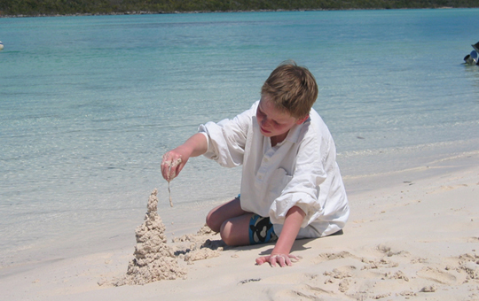 Soft white sand perfect for drip castles