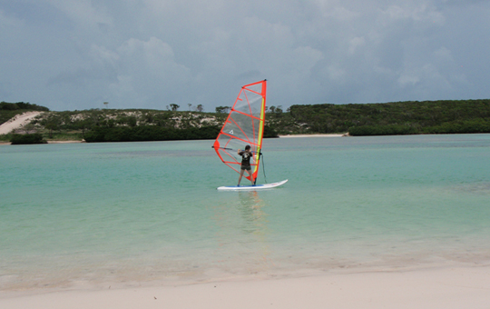 The perfect calm sea to learn windsurfing